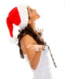 Santa woman waiting for something Stock Photography