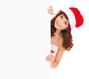 Santa woman with white blank board Royalty Free Stock Photo
