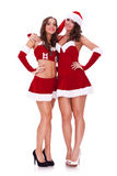 Santa women hugging friendly. Two santa women hugging friendly on white background royalty free stock photo