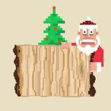 Santa. Wooden sign and pixel art Santa.Vector illustration Stock Image