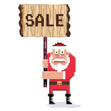 Santa. Wooden sign and pixel art Santa.Vector illustration Stock Images