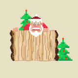 Santa. Wooden sign and Santa.Vector illustration, pixel art stock illustration