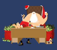 Santa after work relaxes. Rich Claus and red bag with money. Dri Royalty Free Stock Images