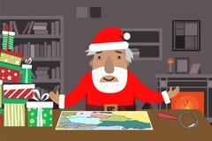 Santa Work utrymme med översikten och förstoringsglaset, gåvaaskar, tabell, hyllor, spis royaltyfri illustrationer