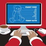 Santa works on blueprints for a teddy bear Royalty Free Stock Photos