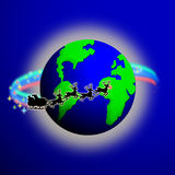 Santa World. Illustration of Santa's sleigh making its magical trip around the world on Christmas Eve Stock Photo