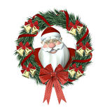 Santa Wreath. Santa's head looking through a wreath decorated with bells, ribbon, and bows Stock Photo