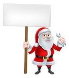 Santa Wrench Sign Imagen de archivo libre de regalías
