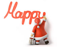 Santa writes Happy New Year. 3d image with work-path Stock Photography