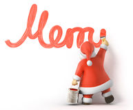 Santa writes Merry Christmas. 3d image with work-path Stock Photography