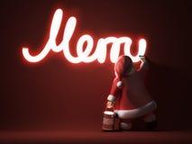 Santa writes Merry Christmas. 3d render Stock Images