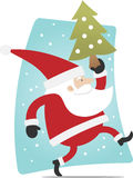 Santa and xmas tree. Santa walking with christmas tree on his hand Stock Image