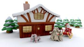 Santa y cabina del invierno stock de ilustración