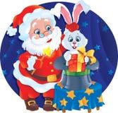 Santa y conejo Ilustración del Vector