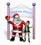 Santa y duende en el Polo Norte - con el camino de recortes imagenes de archivo