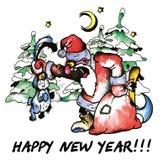 Santa y liebres Libre Illustration