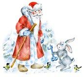 Santa y liebres en bosque del invierno stock de ilustración