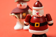 Santa y muñeco de nieve Imagen de archivo