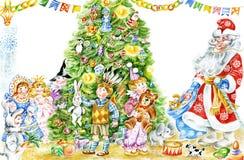 Santa y niños alrededor del árbol de navidad stock de ilustración