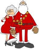 Santa y ornamentos o iconos de Mrs claus stock de ilustración