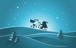 Santa y reno stock de ilustración