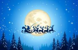 Santa y reno en cielo Fotografía de archivo libre de regalías