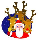 Santa y renos stock de ilustración