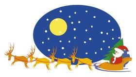 Santa y renos ilustración del vector
