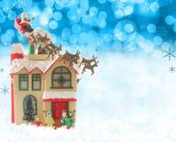Santa y su reno Fotos de archivo libres de regalías
