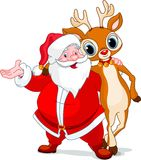 Santa y su reno Rudolf stock de ilustración