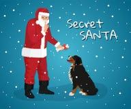 Santa Year secrète du chien sur le calendrier oriental illustration de vecteur
