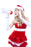 Santa yelling via megaphone isolated in white Royalty Free Stock Photos