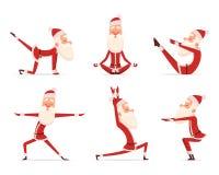 Santa yoga relax. Winter cute healthy christmas holiday santa claus outdoor doing sport yoga exercises vector characters vector illustration