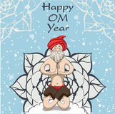 Santa Yogi meditates on the mandala for peace. Yogi Santa Claus sitting in  yoga asana on the mandala, meditate, and wishes everyone happiness Stock Image