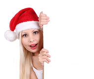 Santa young girl holding white board Royalty Free Stock Photography
