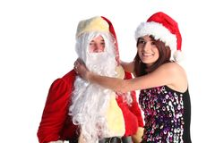 Santa with a young girl Stock Image