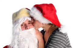 Santa with young girl Stock Image