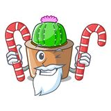 Santa z cukierek maskotki gwiazdy kaktusem dekoruje w ogródzie ilustracji