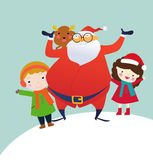 Santa z dziećmi Fotografia Royalty Free