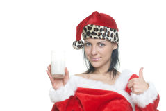 Santa z mlekiem Fotografia Royalty Free