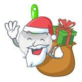 Santa z prezent toalety muśnięciem obok maskotki wanny ilustracji