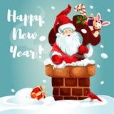 Santa z prezent torbą na dachu ilustracja wektor
