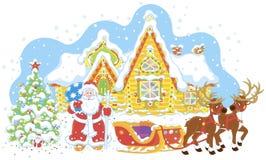 Santa z prezentami i jego saneczki ilustracja wektor