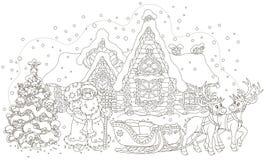 Santa z prezentami i jego saneczki royalty ilustracja