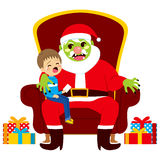 Santa Zombie With Kid. Santa zombie sitting with crying kid holding letter with Christmas presents wishes Royalty Free Stock Image