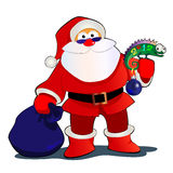 SANTA2012. Cheerful picture Santa and his animal friend of the lizard and a bag with gifts royalty free illustration