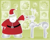 Santabot en Robodeer Stock Foto's