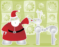 Santabot and Robodeer. Santabot examines his robodeer's nose bulb to make sure it will light up - includes a background of shiny gears in bright green Royalty Free Illustration