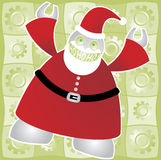 Santabot says HoHoHo!. Super modern and ultra-efficient Santabot exclaims a hearty and joyous Ho Ho Ho! - includes a background of shiny gears in bright green Vector Illustration