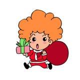 Santaboy cartoon. Funny for backgound Stock Photo